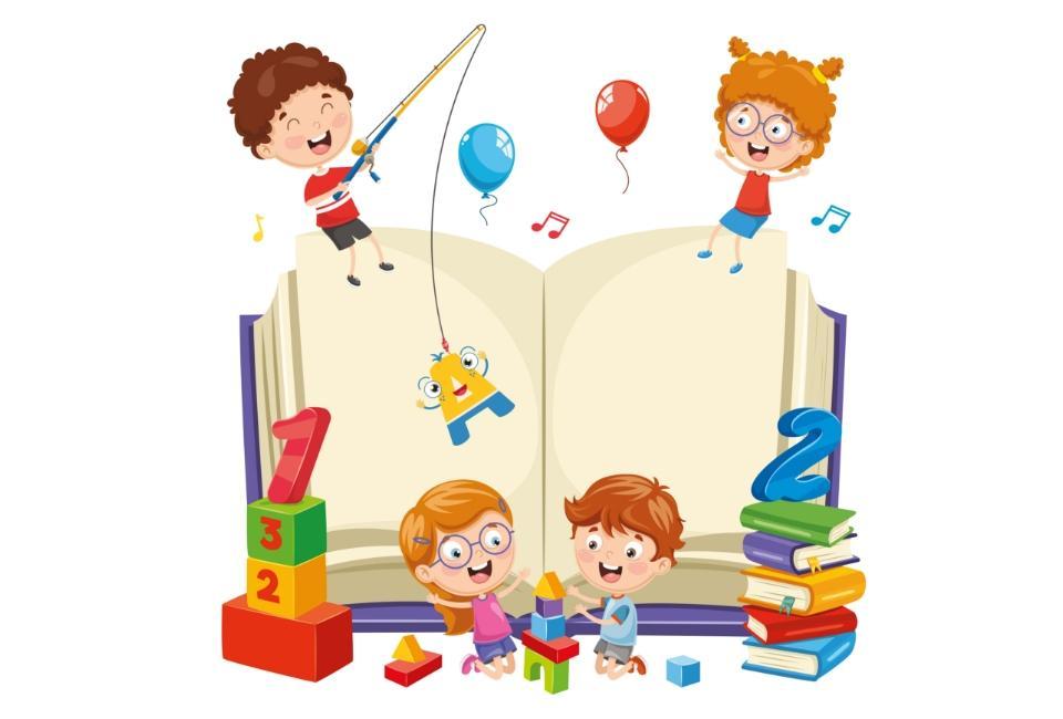 Rysunek dzieci bawiącychsię obok dużej książki
