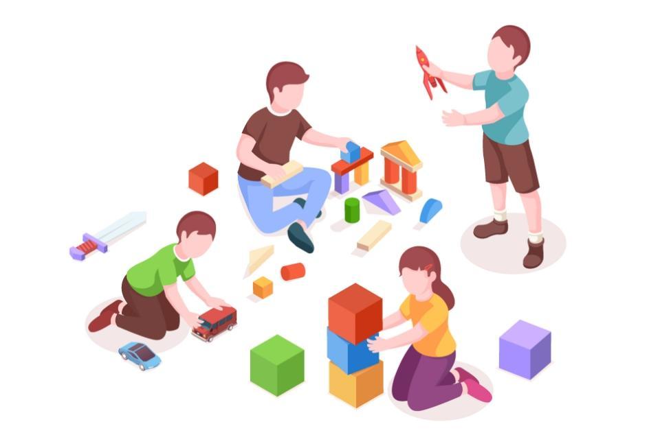 Rysunek dzieci bawiącychsię zabawkami