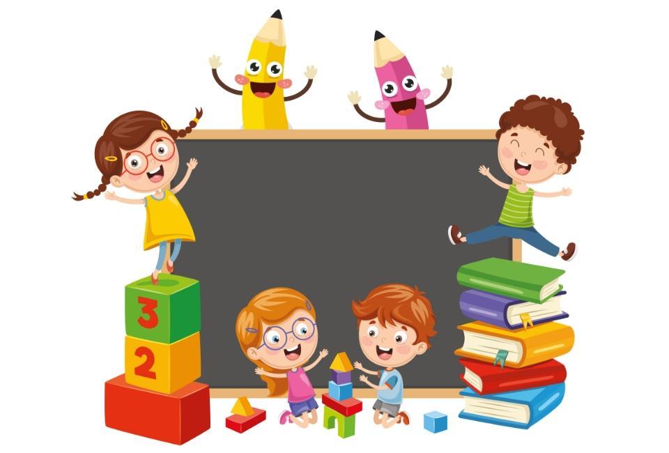 Rysunek dzieci bawiącychsię obok tablicy kredowej