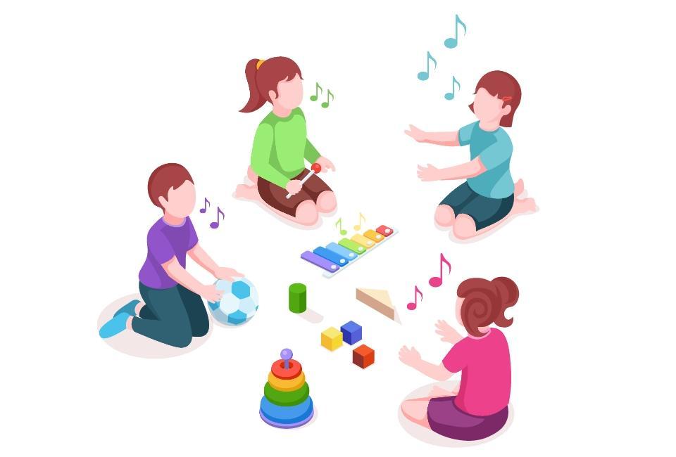 Rysunek śpiewających dzieci zzabawkami